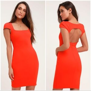 Lulus Serena Coral Red Short Sleeve Bodycon Dress